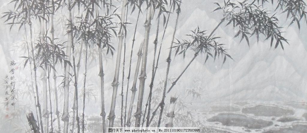 水墨竹子 壁画 风景 风景画 工笔画 古典 古典画 古典水墨画