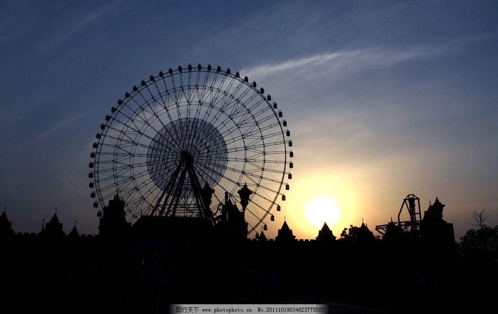 摩天轮 夕阳 剪影 公园 游乐场 金鸡湖 风景 摄影