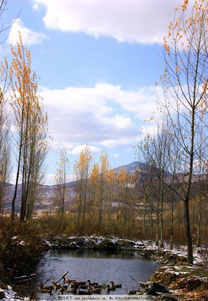 蓝天白云 蓝色背景 蓝色 蓝天 白云 青山 绿树 冬天 雪 自然风景 自然
