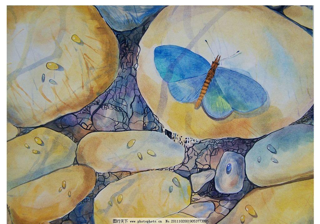 蝴蝶 石头 水流 绘画书法 文化艺术
