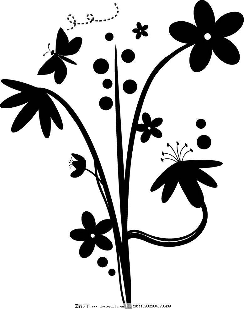 花蝴蝶 小花 花蕾 圆点 底纹 移门 剪影 eps 花纹花边 底纹边框 矢量