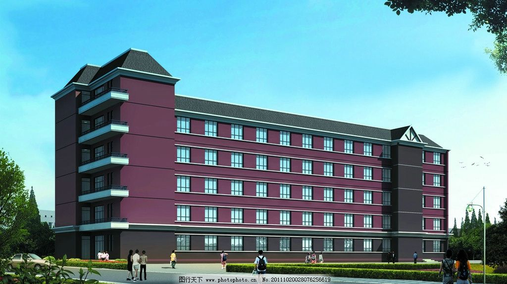 教学校效果图 教学楼 小学教学楼 楼房效果图 绿化 蓝天白云 建筑设计