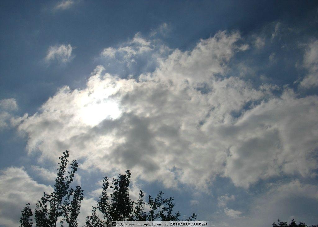 天空 白云 太阳 树木 蓝天 自然风景 自然景观 摄影 72dpi jpg
