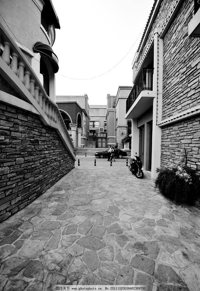 蓝色港湾欧式街道黑白图图片