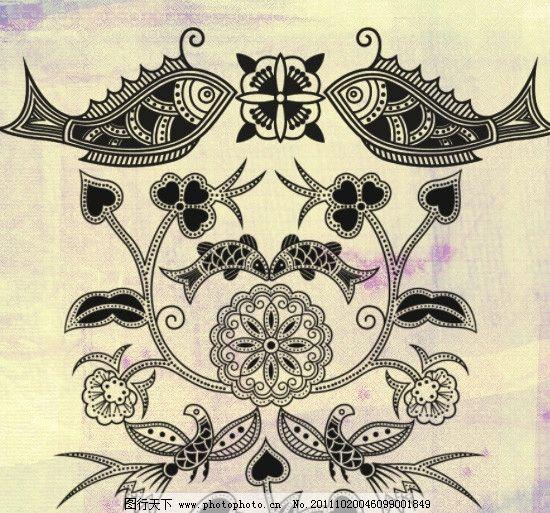 花纹笔刷 对称 复古 埃及风 石刻花纹 双鱼 动物笔刷 ps笔刷 源文件