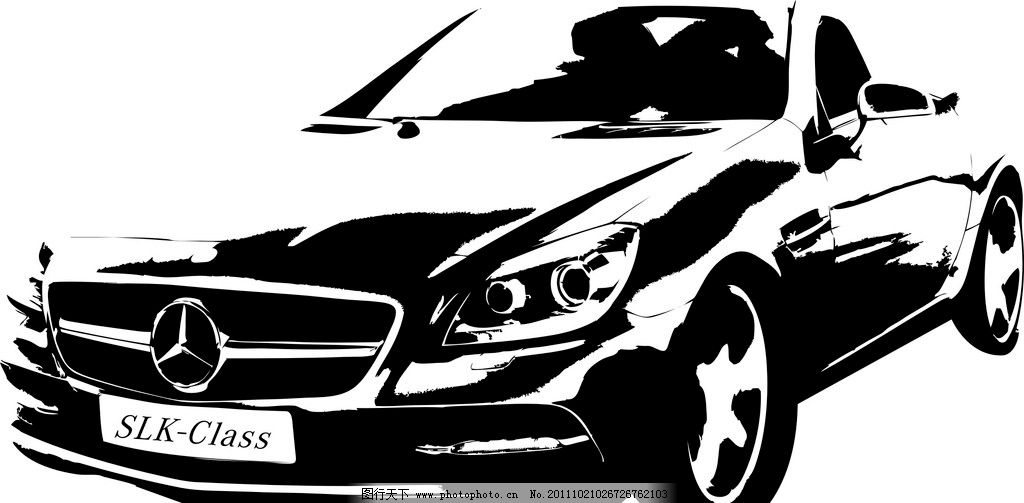 黑白奔驰矢量 汽车 奔驰 矢量 黑白 交通工具 现代科技 cdr