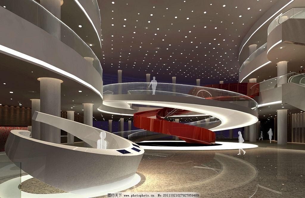 办公大堂 共享大堂 弧形楼梯 异形空间 雕塑 人影 服务台设计 吧台图片