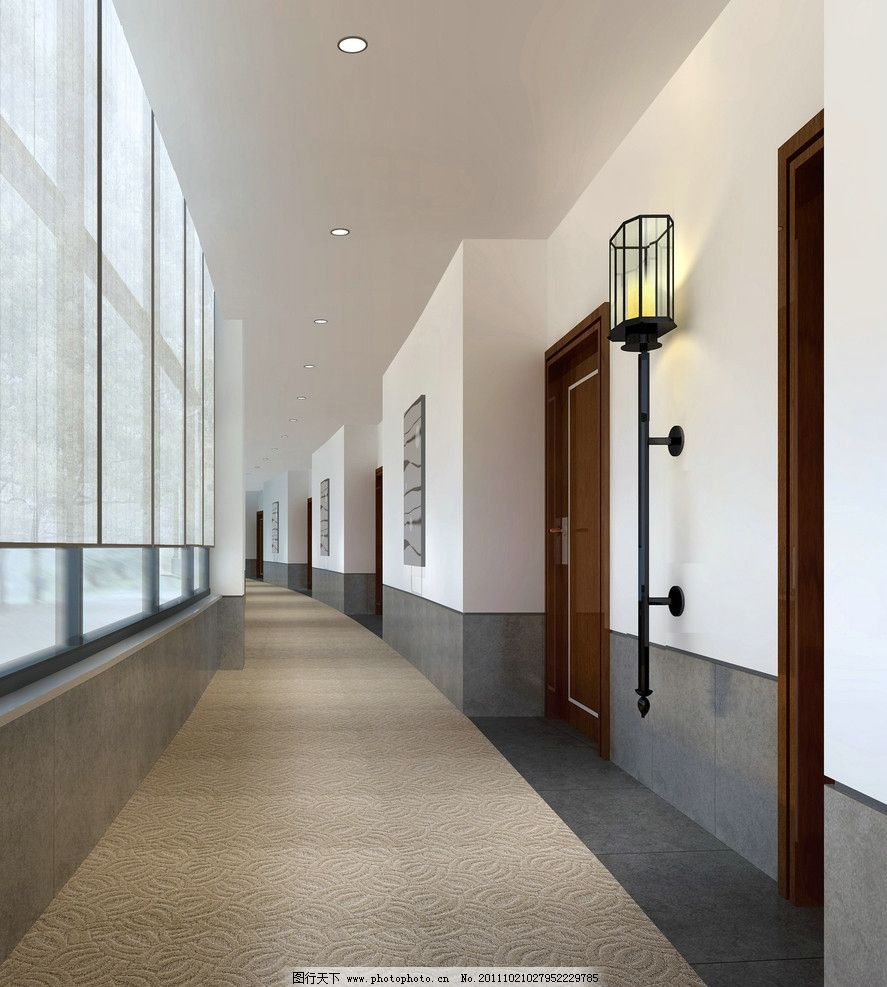 过道效果图 走廊效果图 学校 校园文化 壁灯 灯具设计 中式壁灯 走廊