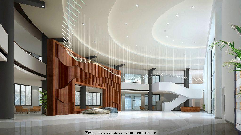 办公大厅效果图 大堂 办公大堂 背景墙设计 共享大厅 石头 雕塑
