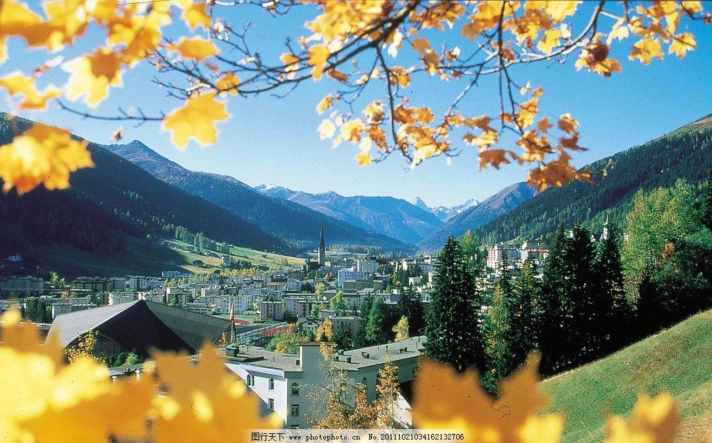 瑞士风光 瑞士 达沃斯 风景 北欧 山峦 绿树 绿山 叶子 旅游 自然风景