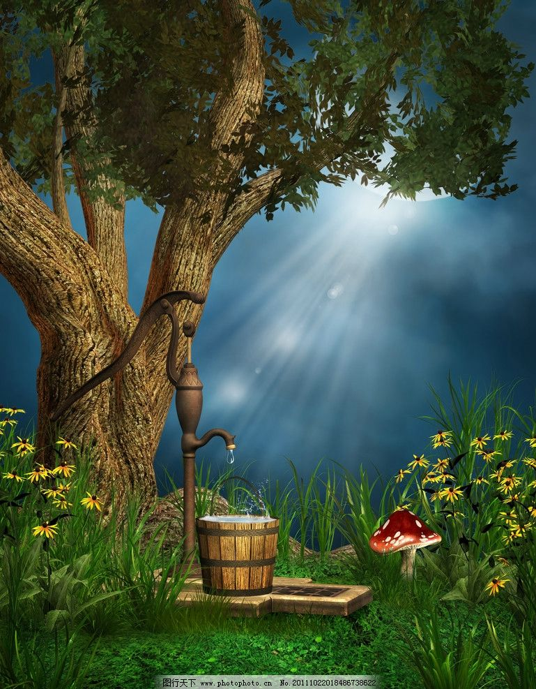 原始森林 梦幻森林 绿树 梦幻背景 浪漫背景 影楼 浪漫 温馨 童话