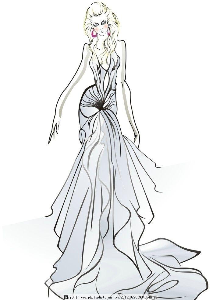 时装设计 时尚 美女 手绘 绘画书法 文化艺术 设计 300dpi jpg
