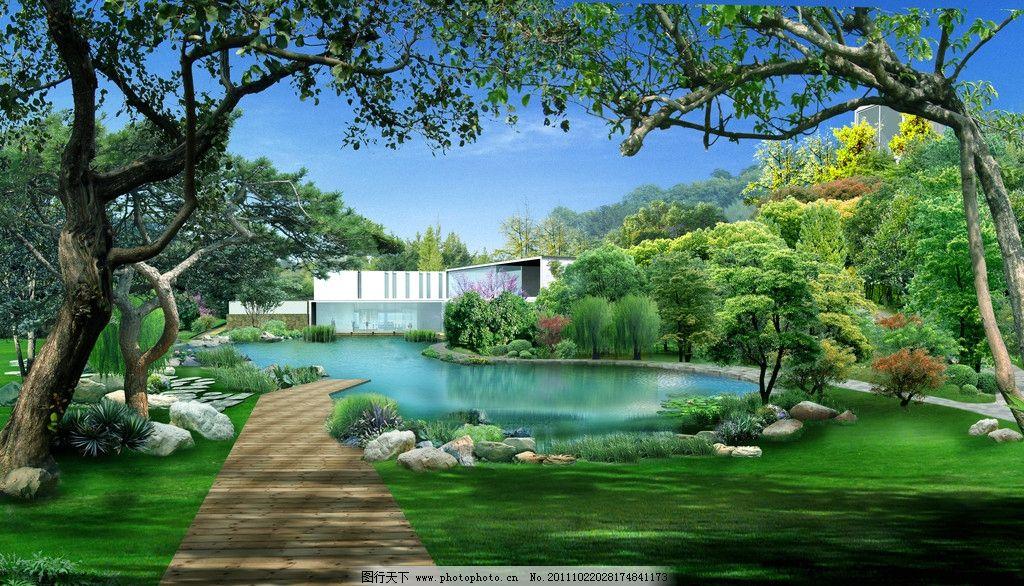 私家别墅花园 园林景观 水池 草地 景观设计 环境设计 设计 72dpi jpg