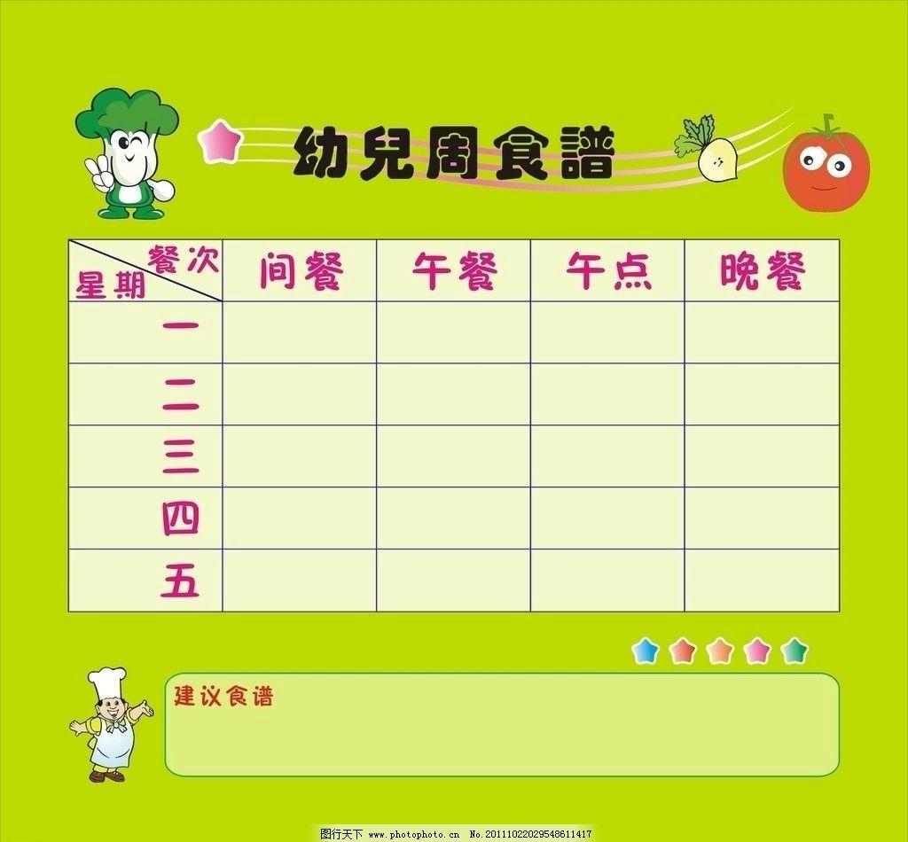 幼儿食谱图片,绿色健康 健康食品 可爱卡通大白