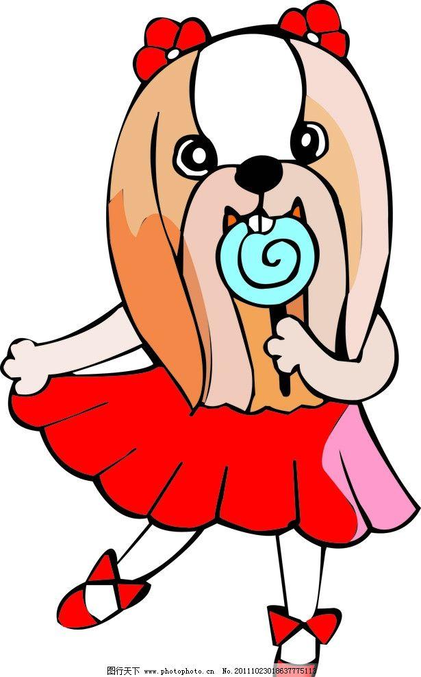 卡通动物 棒棒糖 裙子 动漫动画