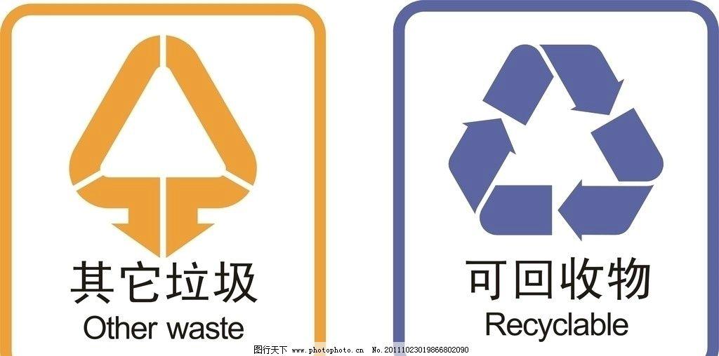垃圾桶标识图片_公共标识标志