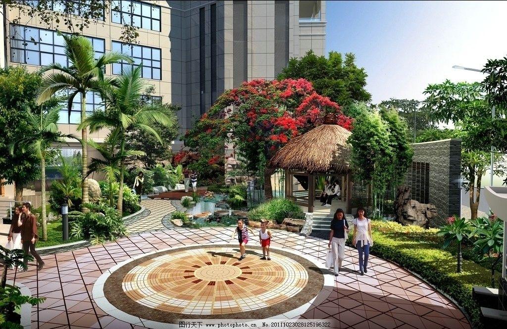 设计图库 环境设计 景观设计  住宅小区景观效果图 园林花镜效果图 建