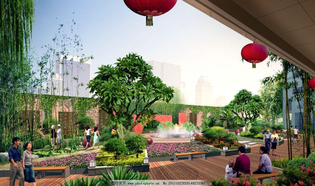 住宅区景观效果图 园林花镜效果图 建筑效果图 鸟瞰效果图 公共建筑