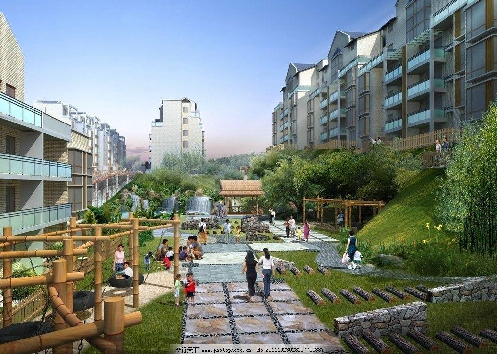小区景观效果图 园林花镜效果图 建筑效果图 鸟瞰效果图 公共建筑