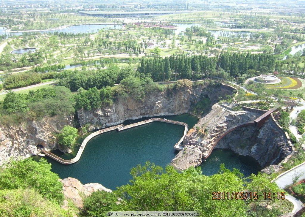 上海辰山植物园局部鸟瞰图图片