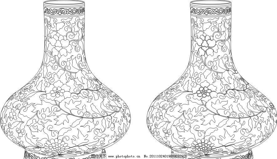 青花 青花瓷 瓷器 花瓶 瓶子 线条 刻绘 矢量 古代文化 美术绘画