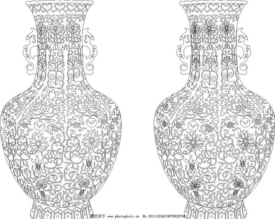青花 青花瓷 瓷器 花瓶 瓶子 线条 刻绘 矢量 古代文化 美术绘画 文化
