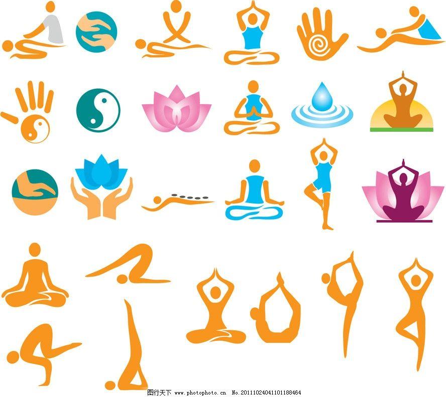 手绘美容spa瑜伽剪影图片