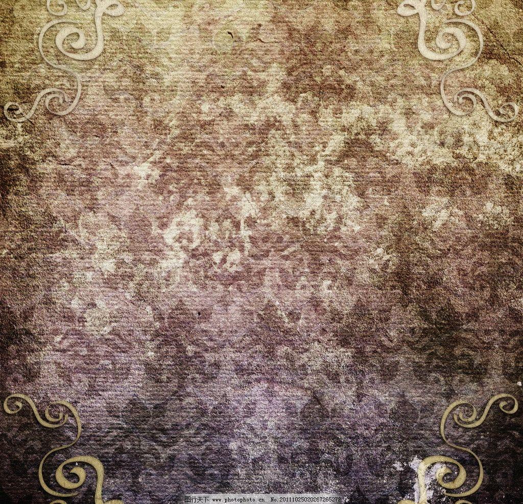 破旧纸张背景 欧式花纹 复古怀旧背景 羊皮纸 牛皮纸 纸纹 皱褶