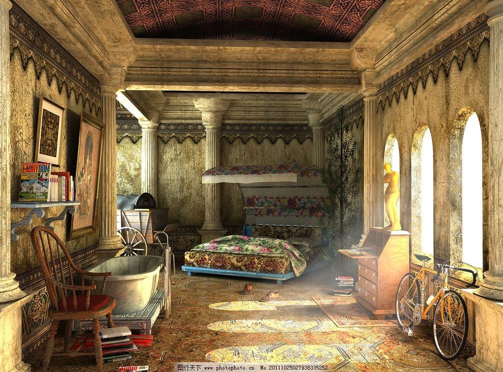 欧式建筑 欧式室内装饰 欧式室内设计 室内摄影 家居 桌椅 单车