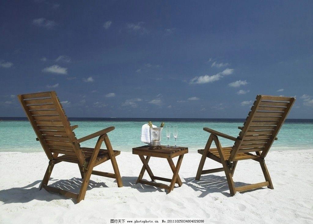 海边风景 大海 沙滩 海滩 沙滩椅 蓝天 白云 海洋 度假 旅游 椰子树