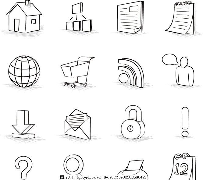 手绘素材网页图标矢量 素描 房子 主页 互联网 局域网 记事本