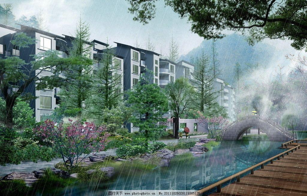 住宅小区园林景观效果图图片