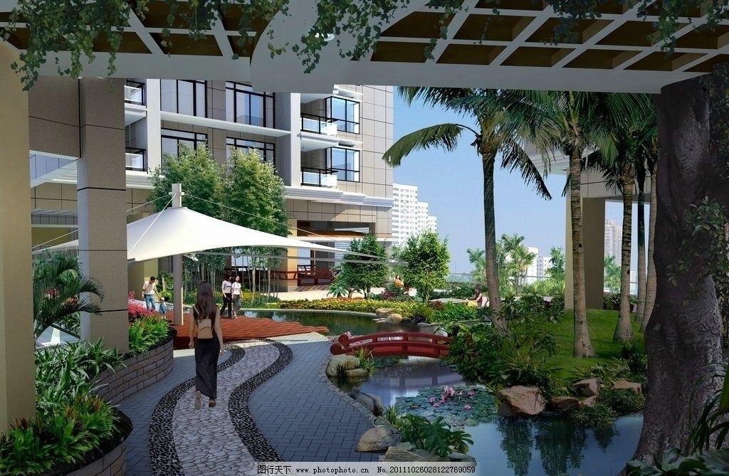 景观设计效果图 商业建筑 景观分层文件 建筑物 设计原文件 高楼 室外