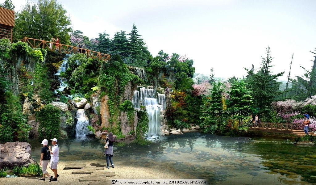 公园园林景观效果图 园林花镜效果图 建筑效果图 鸟瞰效果图 公共建筑