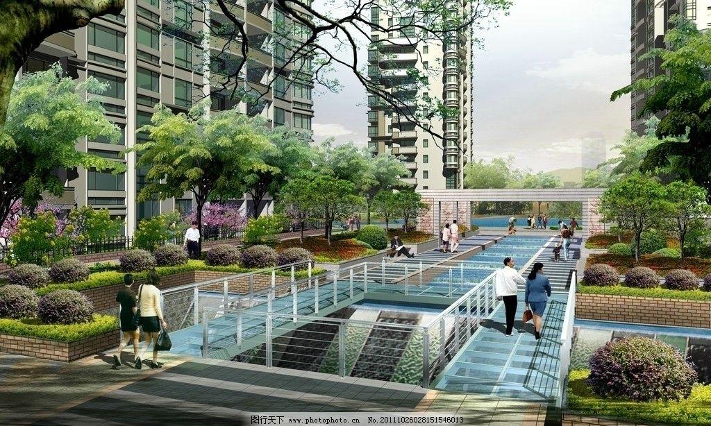 住宅小区园林景观效果图图片_景观设计_环境设计_图行