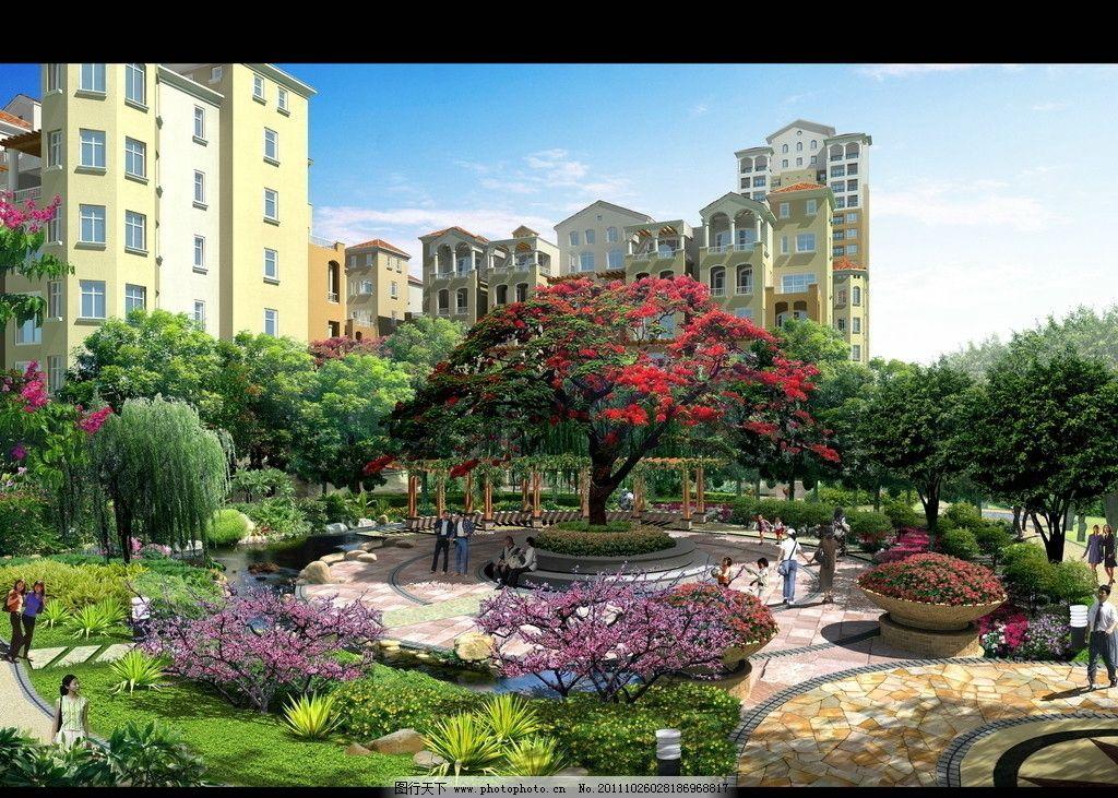 高档小区景观效果图 园林花镜效果图 建筑效果图 鸟瞰效果图 公共建筑