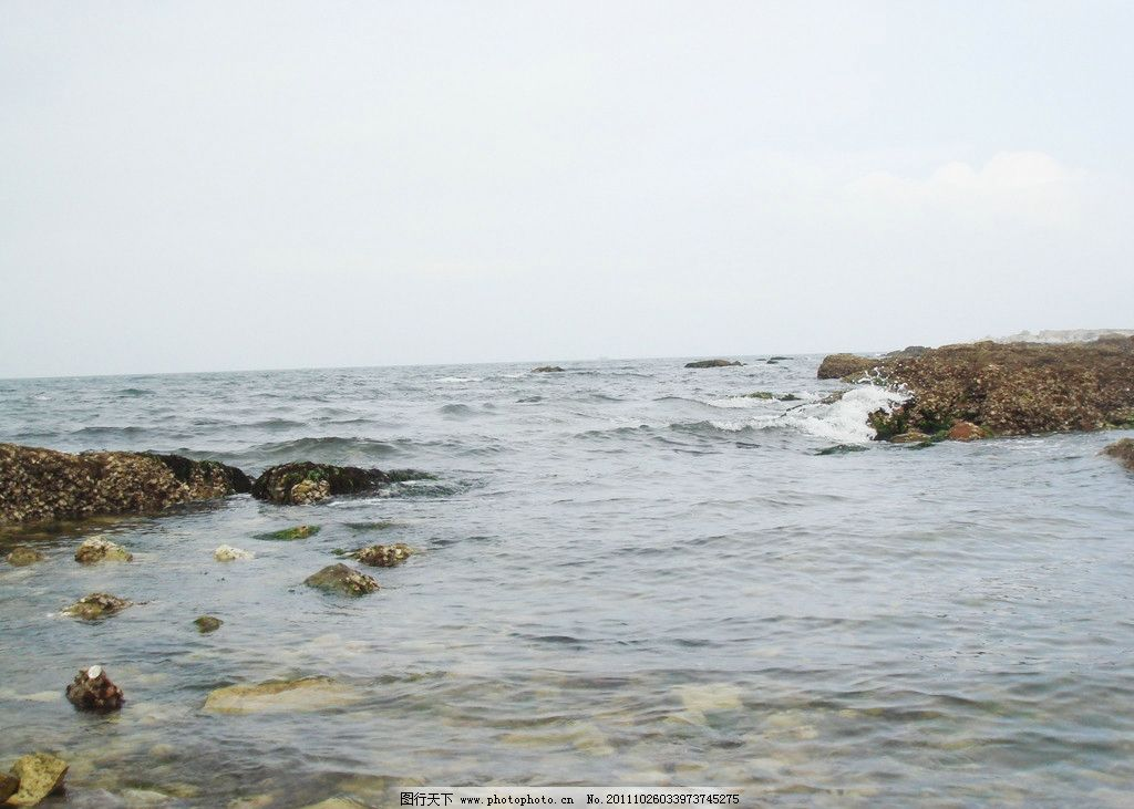 青岛渡海 大海 岸边 岩石 海水 蓝天 白云 国内旅游 旅游摄影
