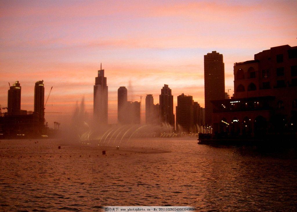 沿海风光 大海 沿海 海岸线 城市 建筑 高楼大厦 喷泉 夕阳 黄昏 云彩