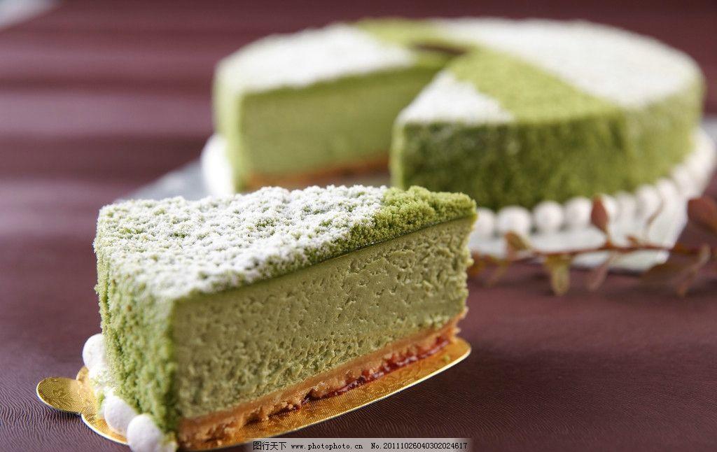 绿茶奶油慕斯蛋糕图片