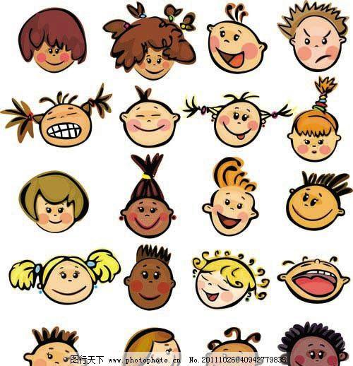 卡通儿童表情 卡通 儿童 表情      高兴 忧愁 生气 开心 微笑 男孩图片
