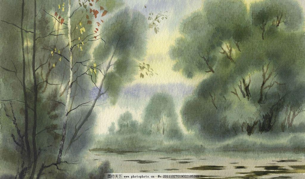 树林 水墨画 小溪 绘画书法 文化艺术 设计 72dpi jpg