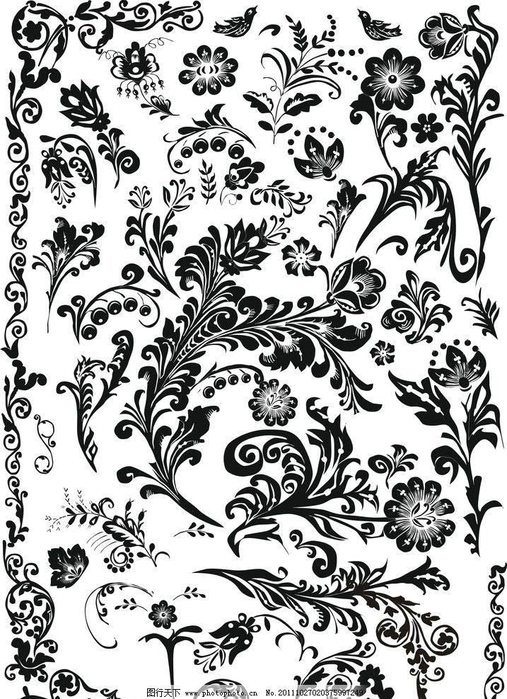 黑白欧式矢量贴图