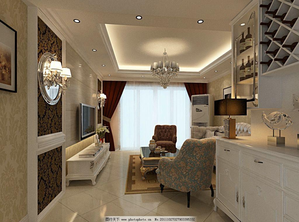 歐式簡約風格客廳 簡約 歐式      電視背景墻 沙發背景 室內設計