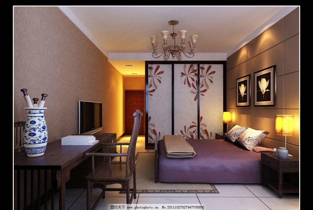 卧室效果图      床 桌子 花瓶 家居生活 室内设计 环境设计 设计 150