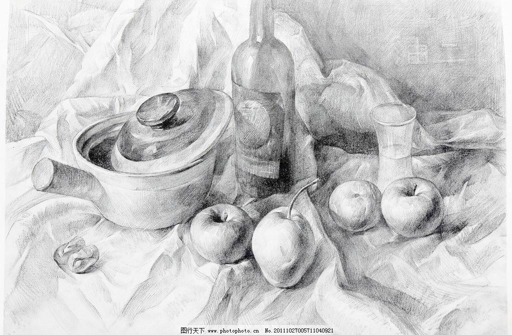 水果静物素描图片 步骤简单