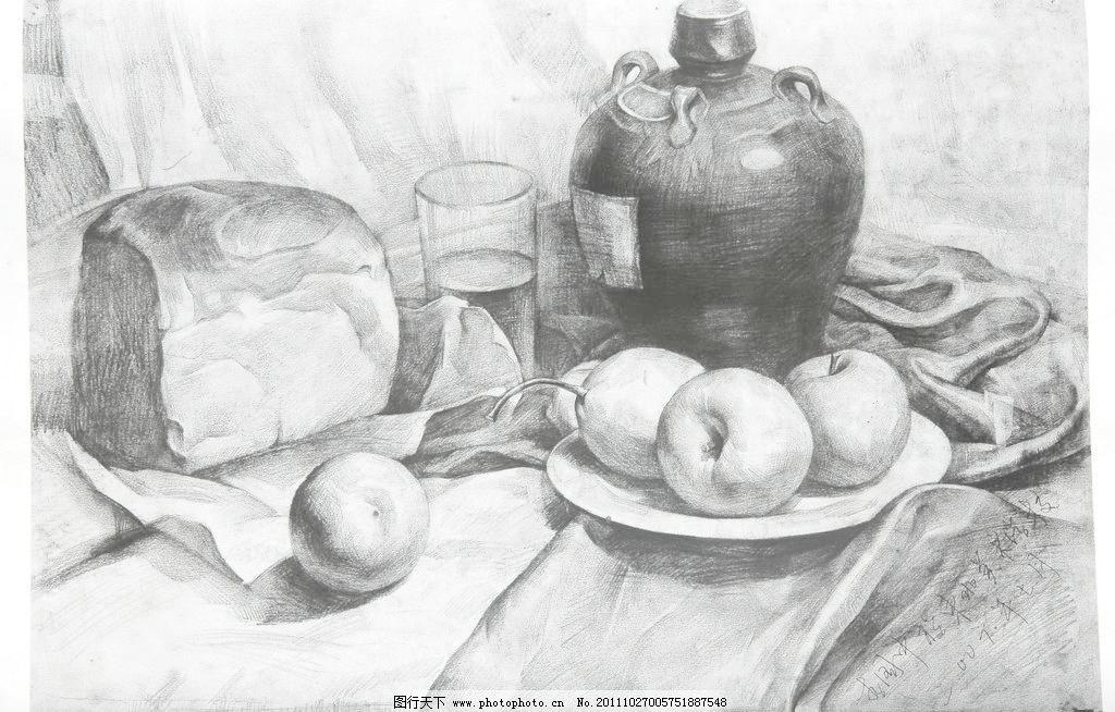 素描静物 中考素描 素描作品      学生作品 高考素描 线描 线条 桌布