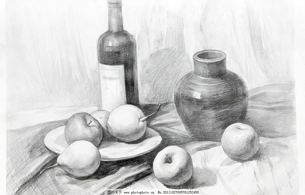 72dpi jpg 杯子 布 绘画书法 静物 静物素描 酒瓶 梨子 盘子 静物素描