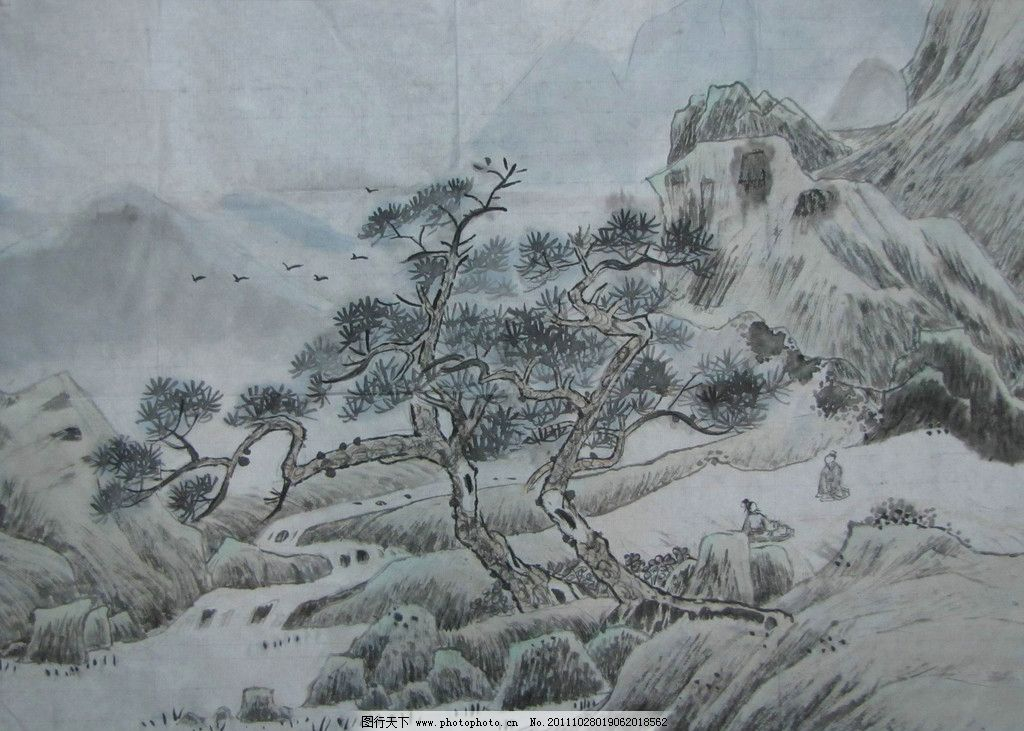 水墨山水 水墨画 中国水墨山水画 中国水墨画 风景 工笔画 艺术