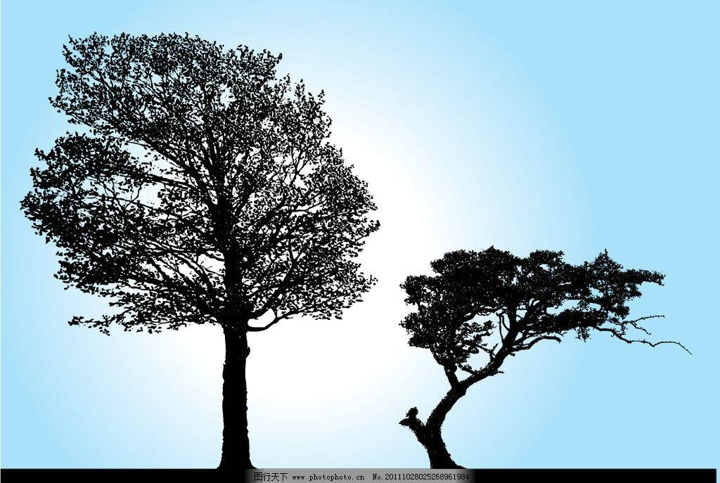 树木剪影 树 树木 树枝 剪影 无框画 移门 矢量 ai 树木树叶 生物世界