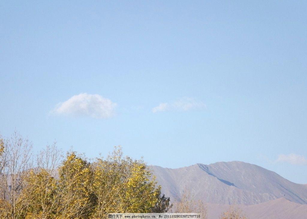 大山景色 树和闪 蓝天 白云 布达拉宫 jpj图 72dpi 国内旅游 旅游摄影